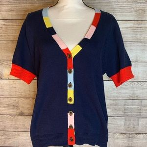 ModCloth Striped Color Block Short Sleeve Cardigan